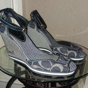 Coach denim wedge sandals